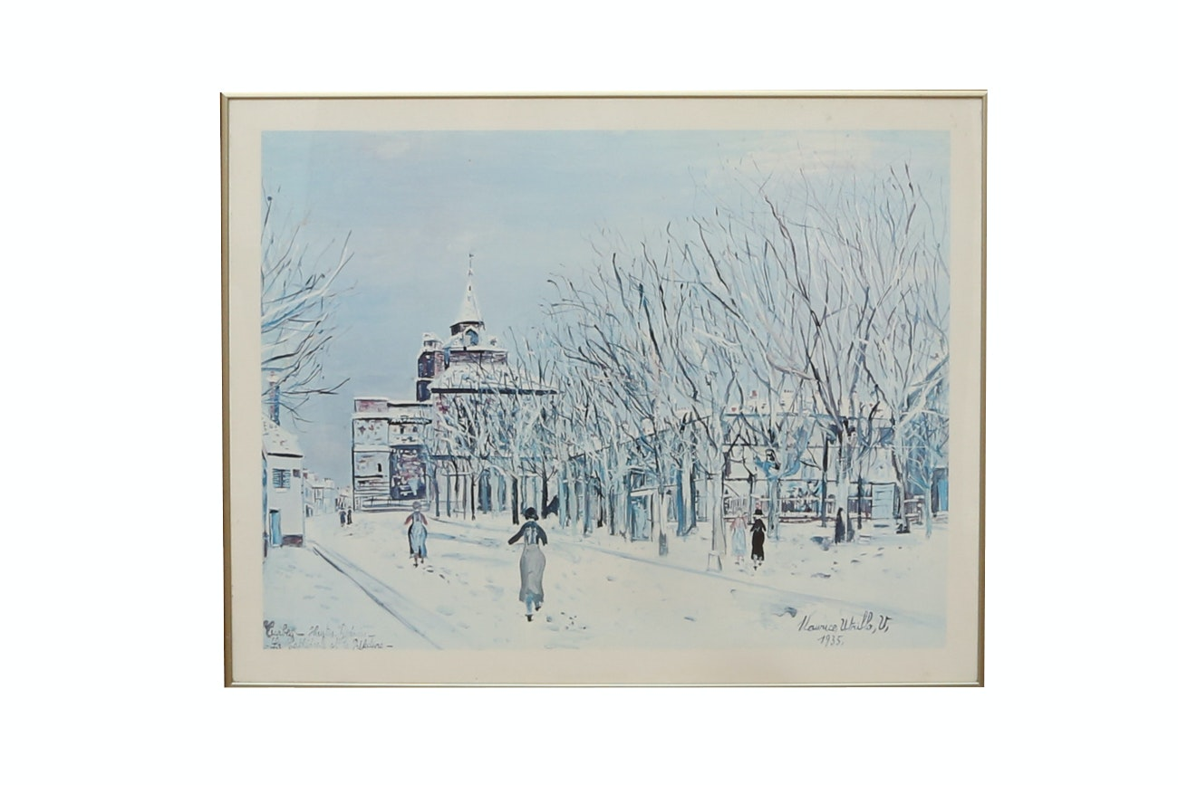 "After M. Utrillo Giclee Print ""Winter Street Scene In Tarbes"""