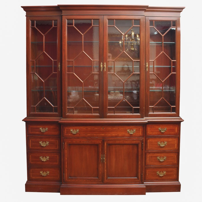 Vintage Chippendale Style Breakfront China Cabinet