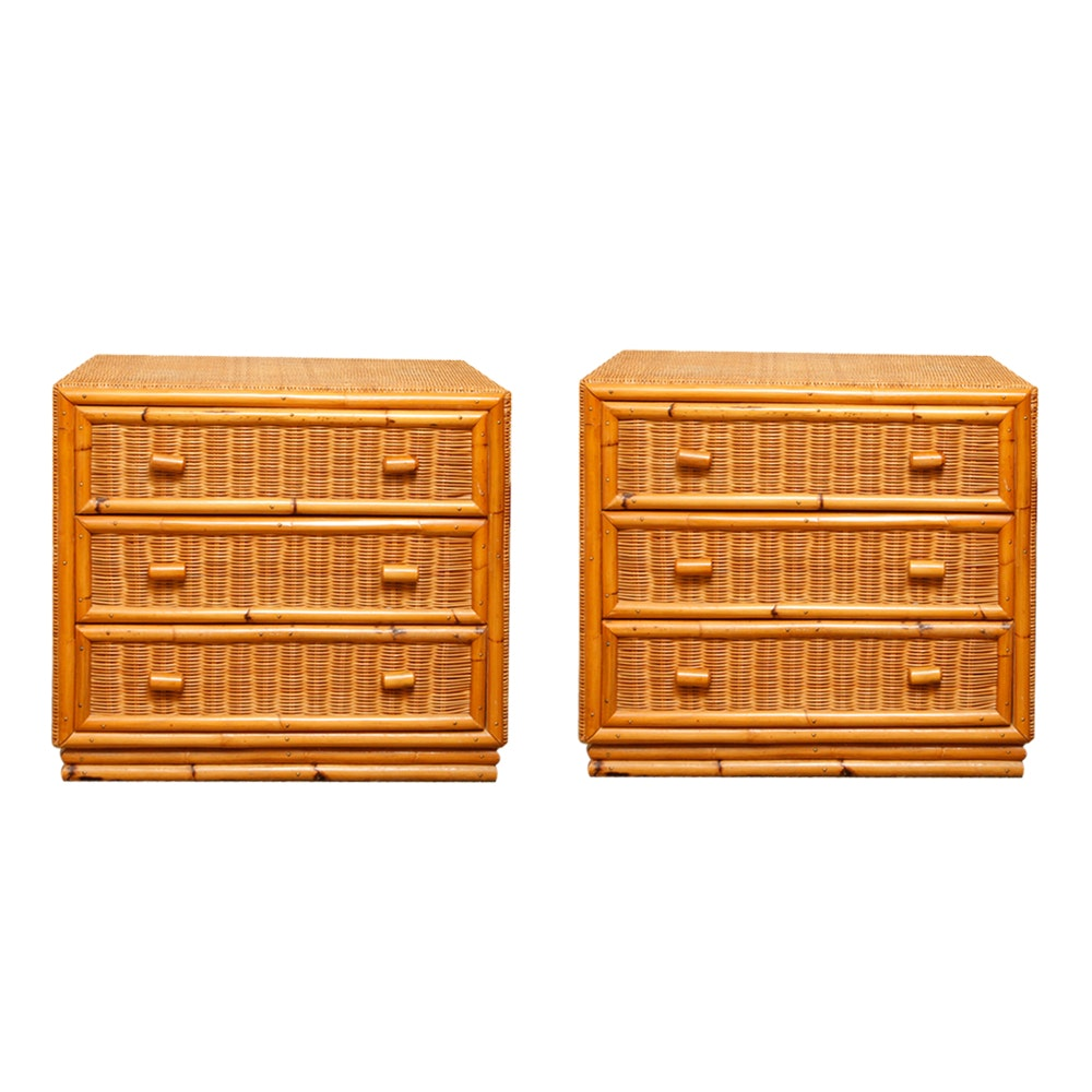 Pair of Pine and Rattan Nightstands With Bamboo Style Facades