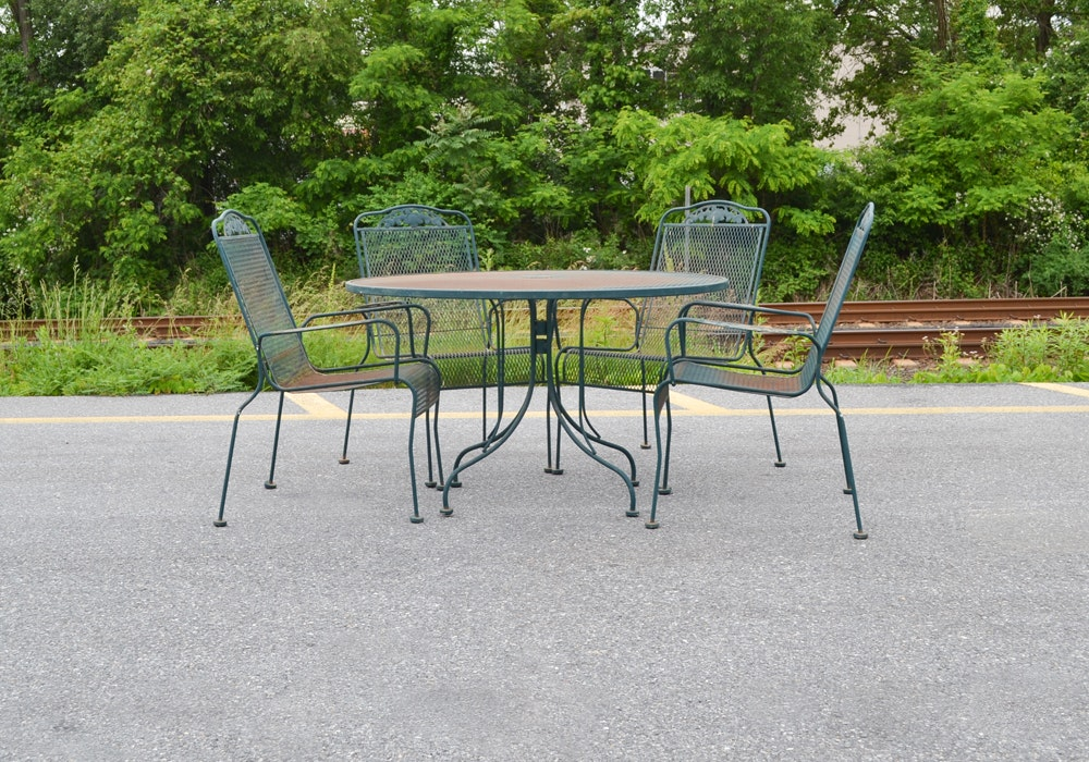 wrought iron sunbeam patio table and chairs ebth rh ebth com sunbeam patio furniture covers sunbeam patio furniture replacement parts