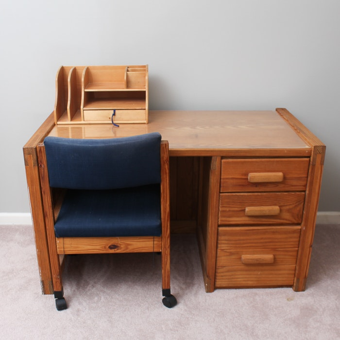 Pine Desk and Chair by Cargo Furniture With Desk Organizer