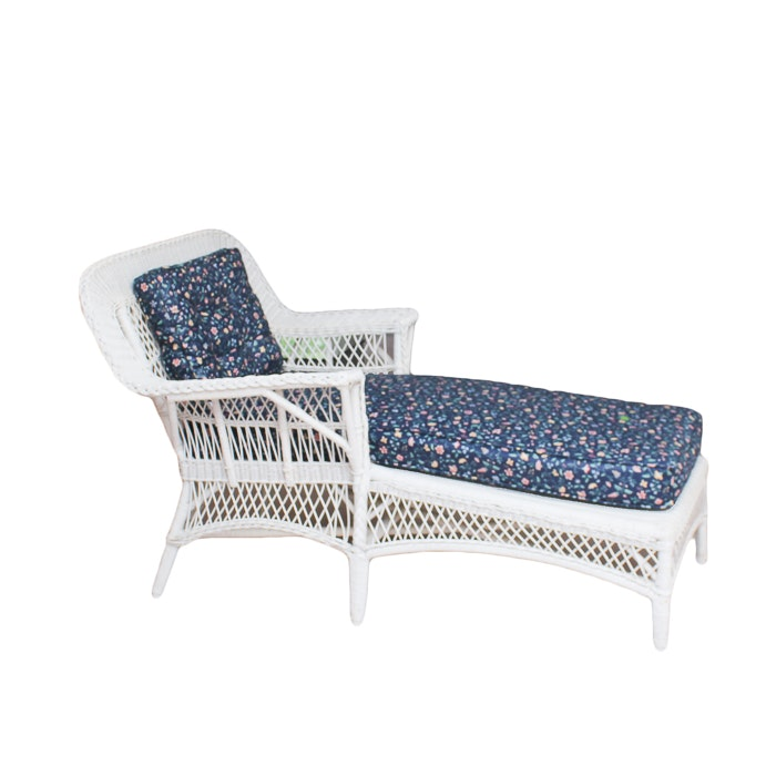 Wicker Lounge Chair and Floral Cushions