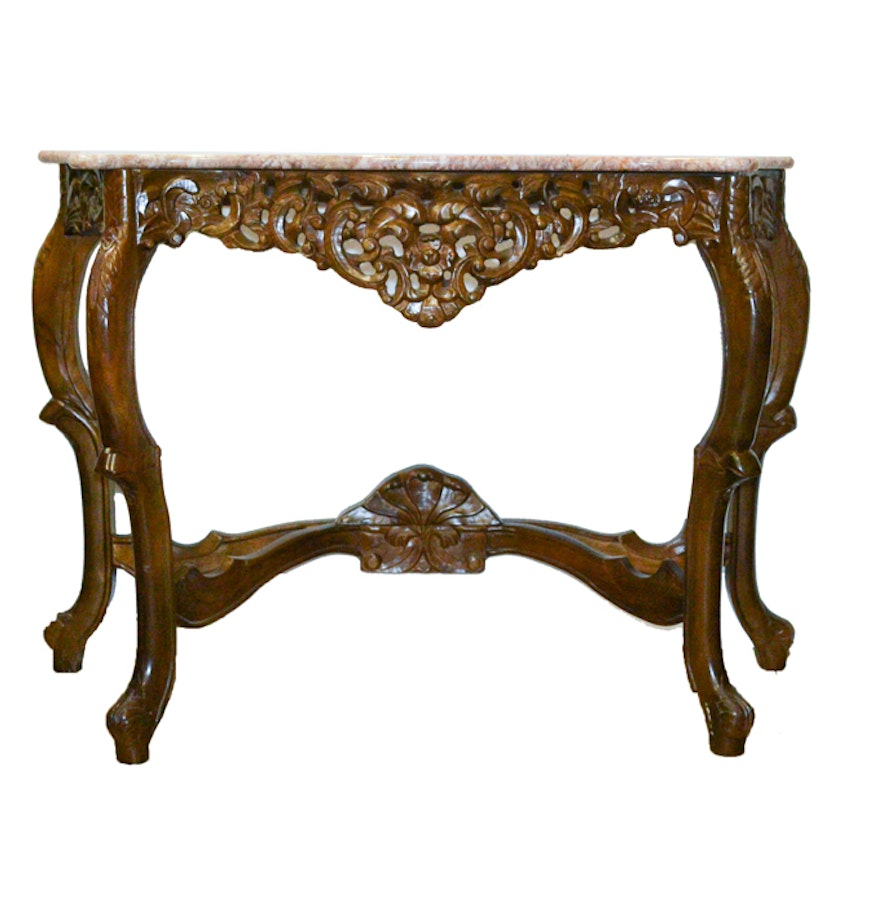 Victorian marble top console table ebth victorian marble top console table geotapseo Images