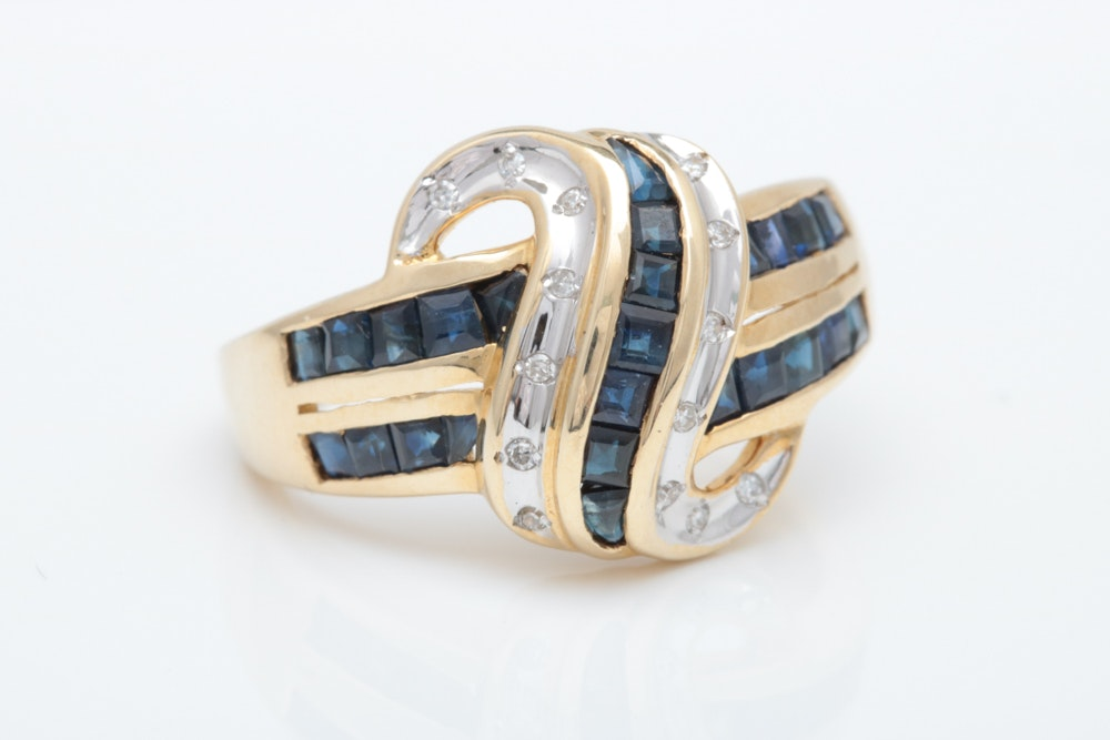 10K Two-Tone Gold, 1.33 CTW Blue Sapphire and Diamond Ring