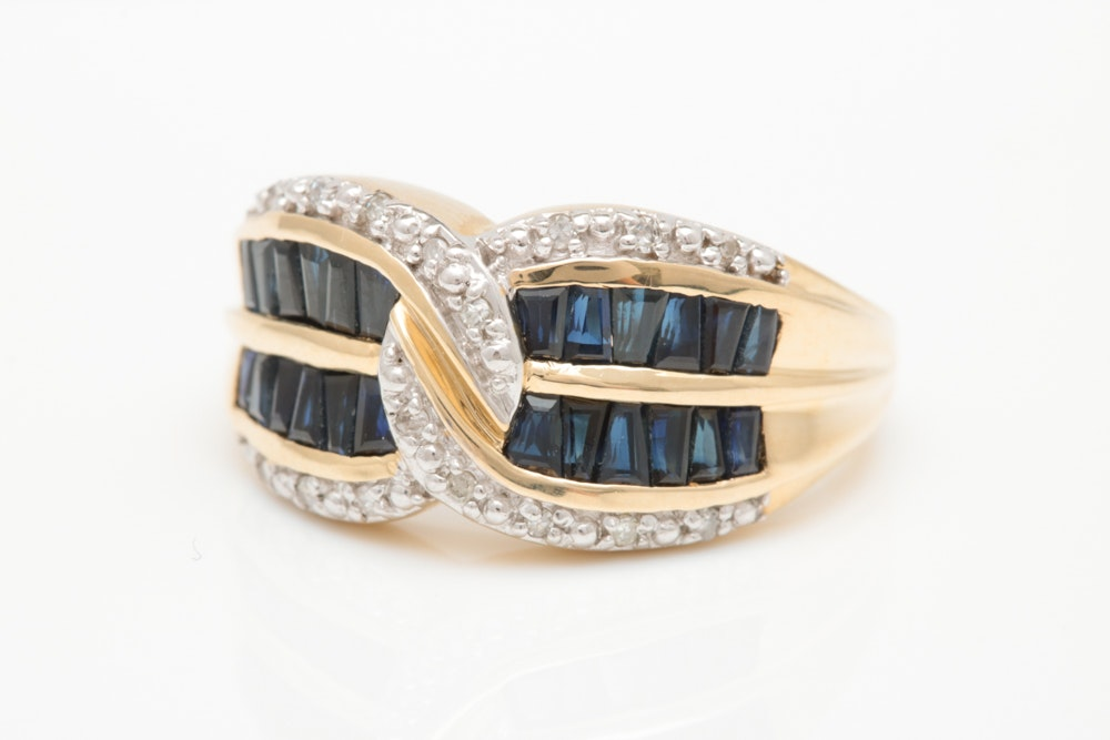 10K Two-Tone Gold, Blue Sapphire Baguette and Diamond Ring