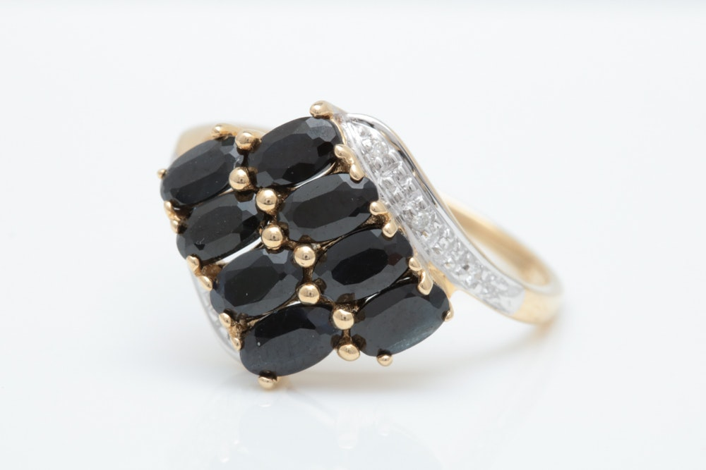 14K Gold, Blue Sapphire and Diamond Ring