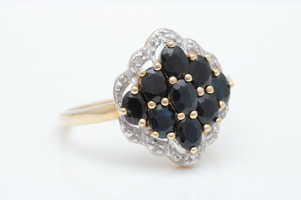 10K Two-Tone Gold, 2.00 CTW Blue Sapphire and Diamond Ring