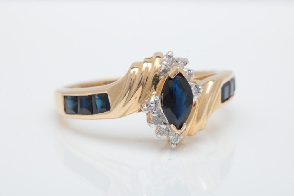 14K Gold, 1.00 CTW Blue Sapphire and Diamond Ring