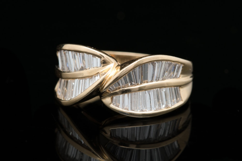14K Gold and Diamond Baguette Ring