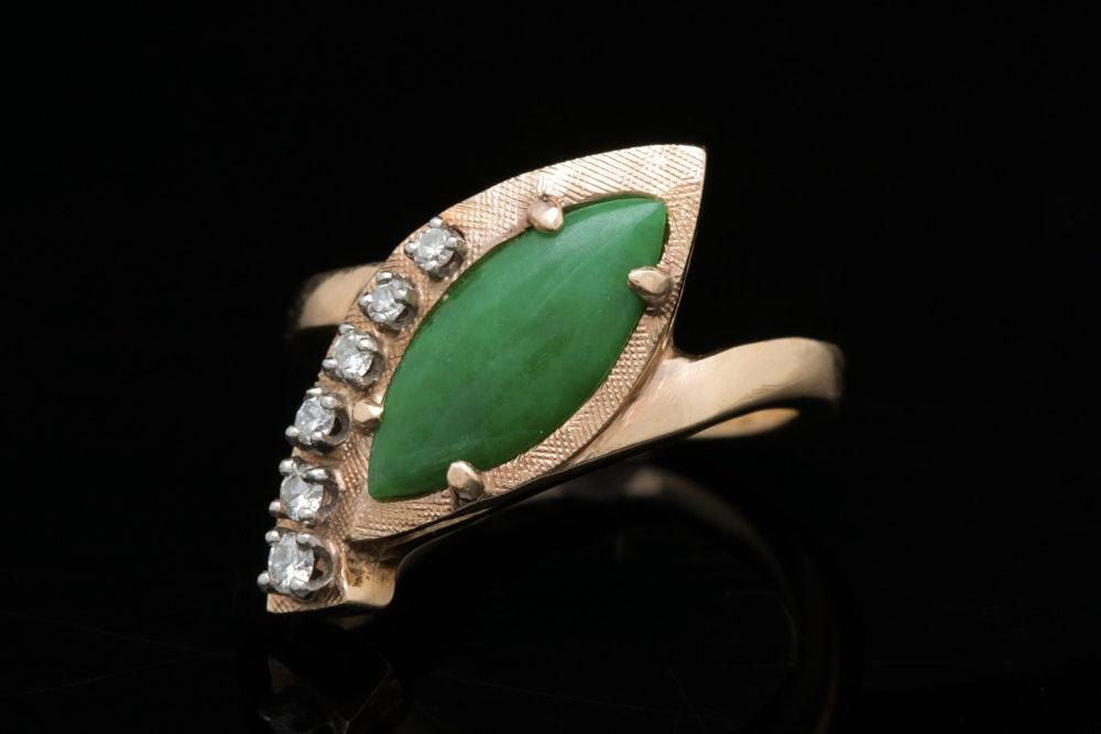 14K Gold, Jade and Diamond Ring