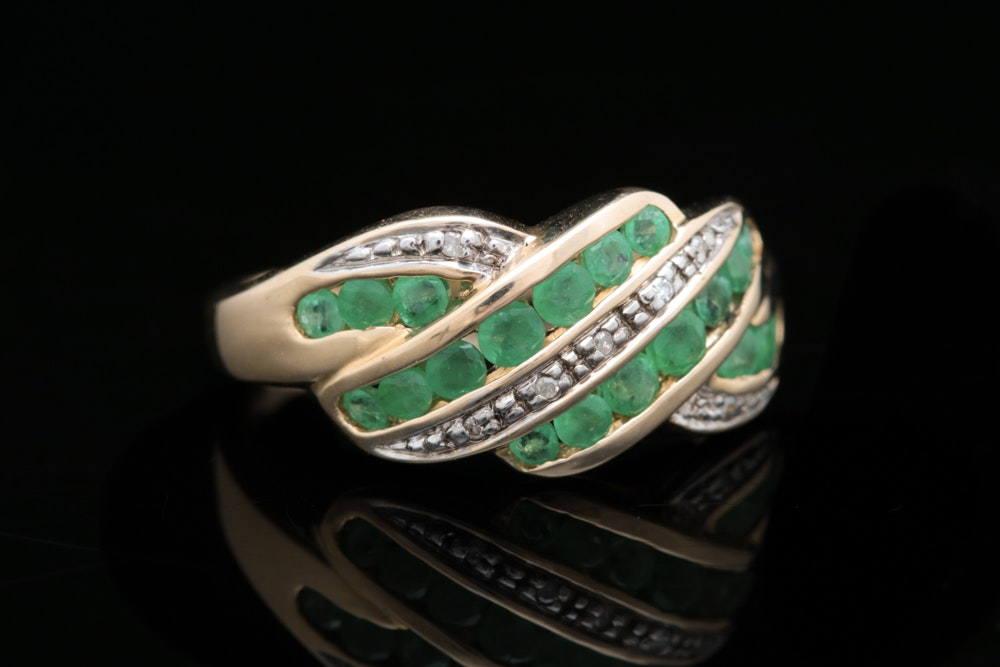 14K Gold, Emerald, and Diamond Ring