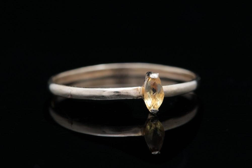 14K Gold and Citrine Solitaire Ring