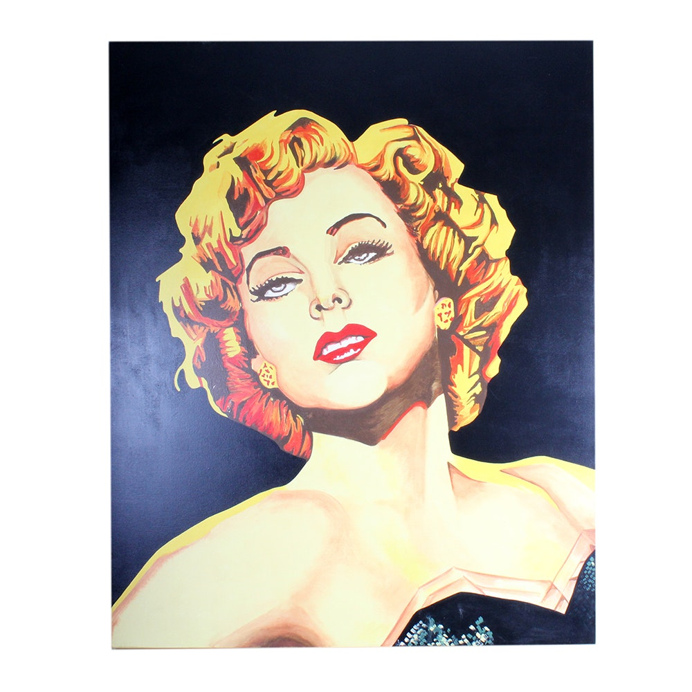 Original Acrylic on Canvas of Marilyn Monroe by David Thrasher