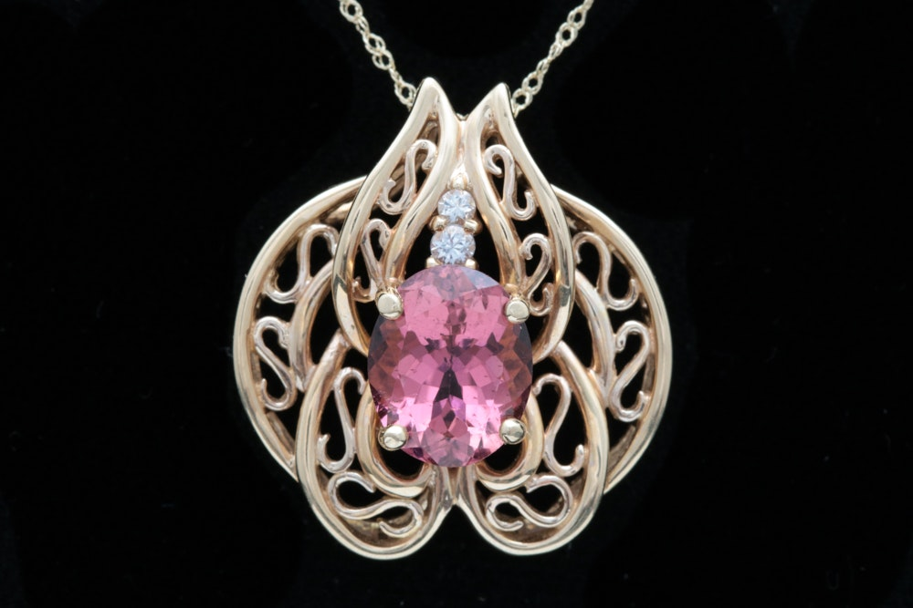 14K Gold, Pink Tourmaline, and White Sapphire Slide Pendant with Chain