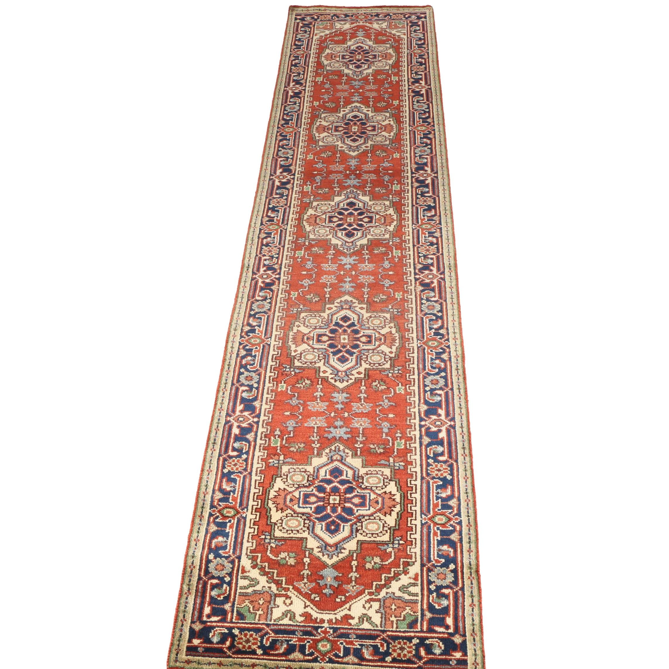 Hand-Knotted Indo-Persian Heriz Serapi Style Carpet Runner