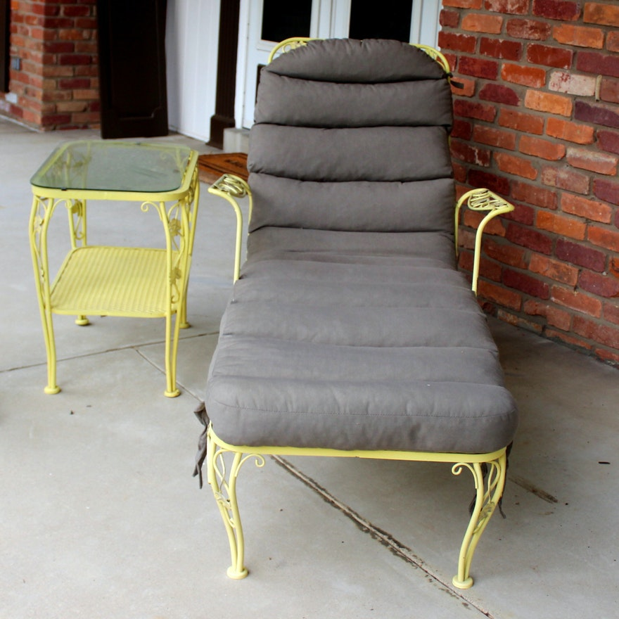 Vintage Meadowcraft Wrought Iron Lounge Chair And Table