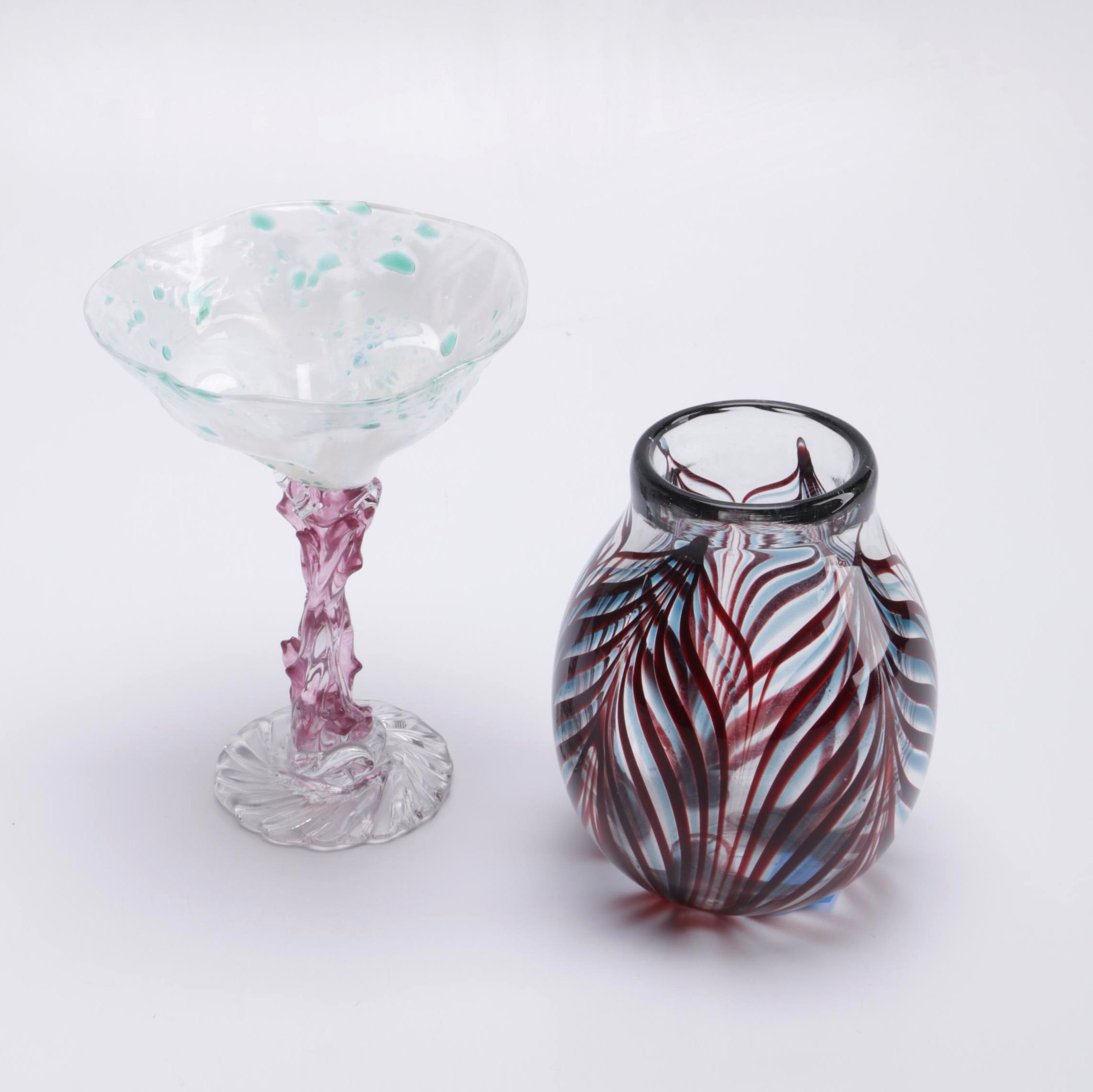 Signed Art Glass Bowl and Stemmed Glass