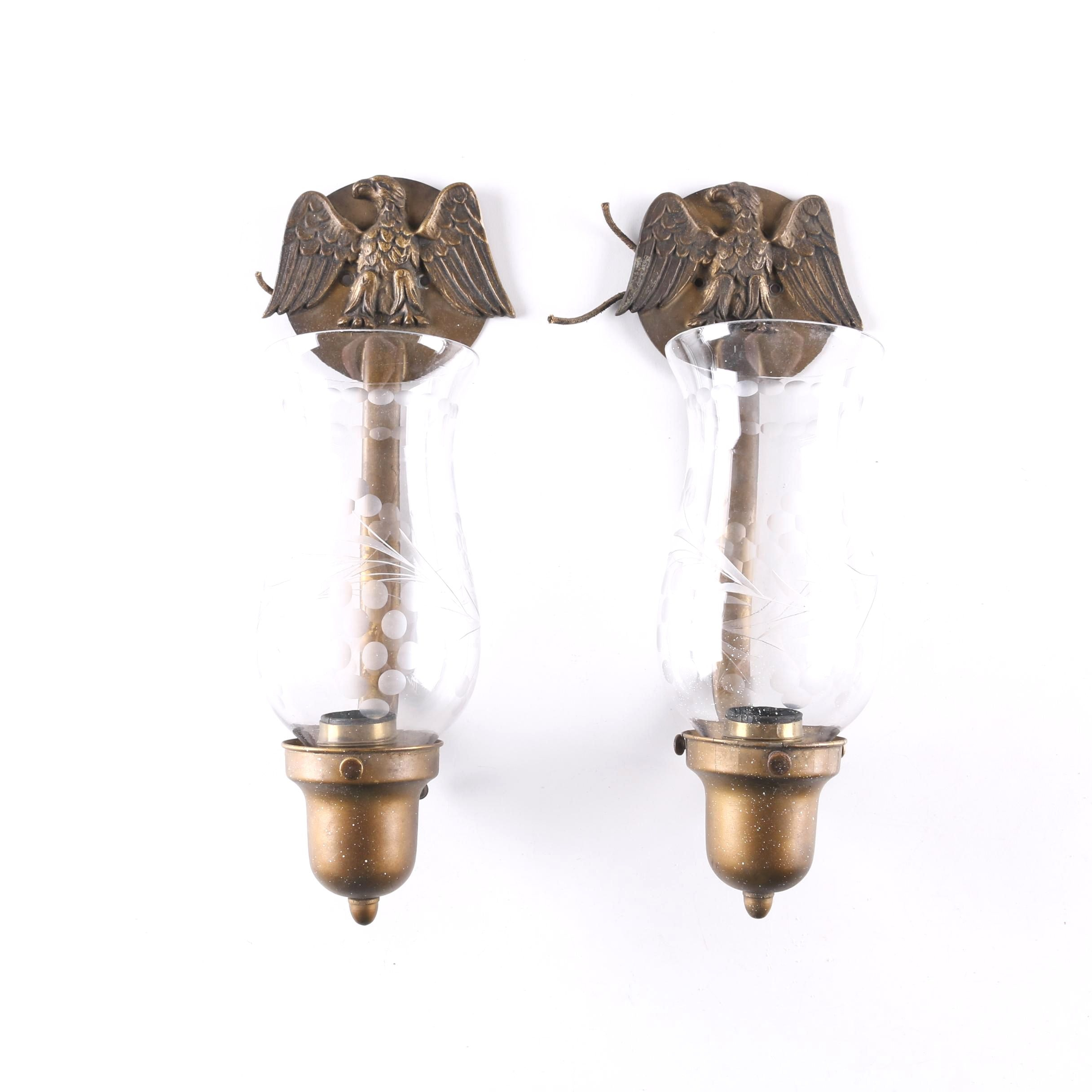 Two Brass Eagle Motif Sconces