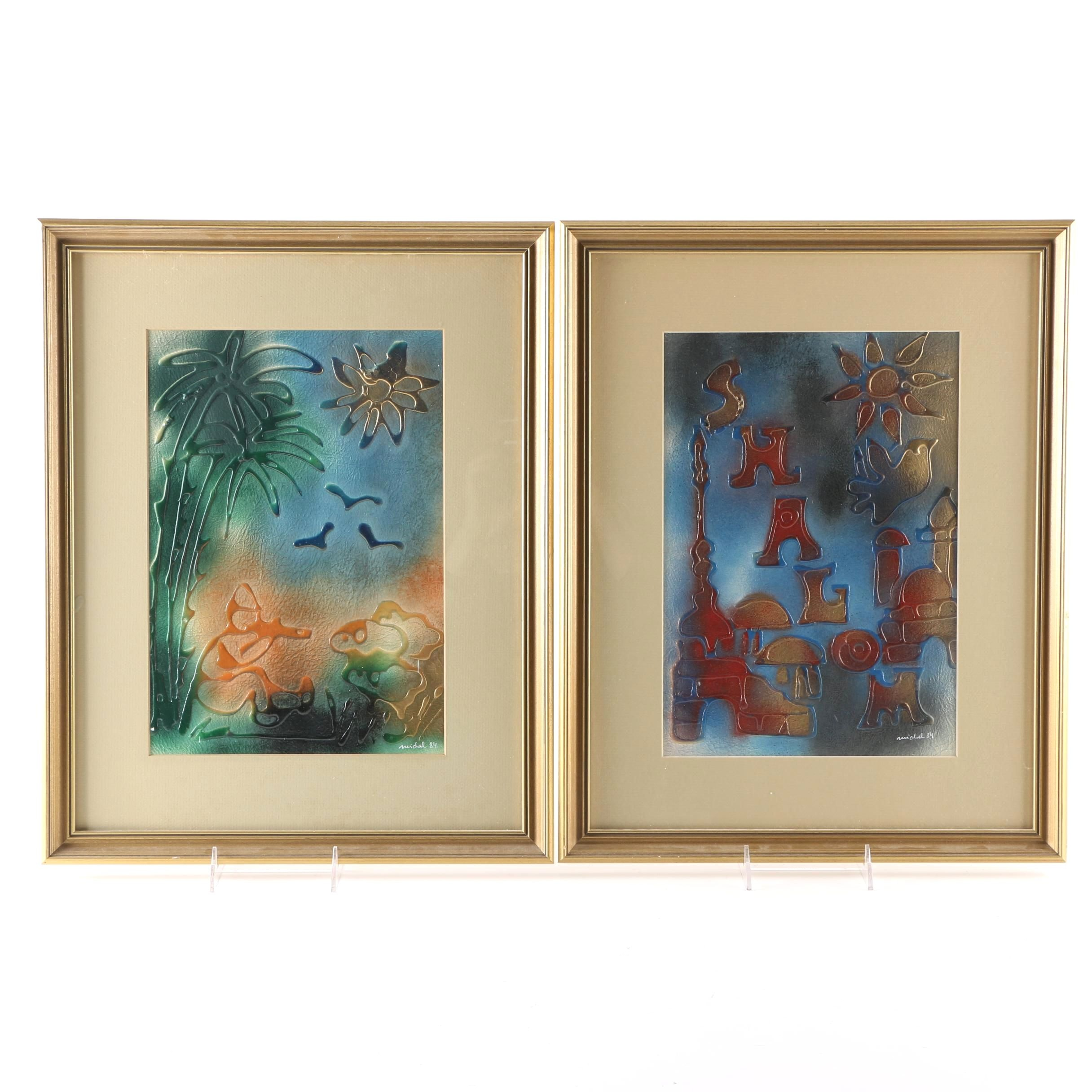 Pair of Signed Mixed Media Airbrush Paintings