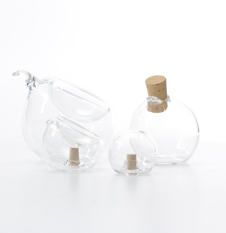 Contemporary nesting glass cruet set with salt and pepper ebth - Salt and pepper cruet set ...