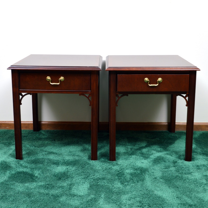 Chinese Chippendale Style End Tables By Thomasville
