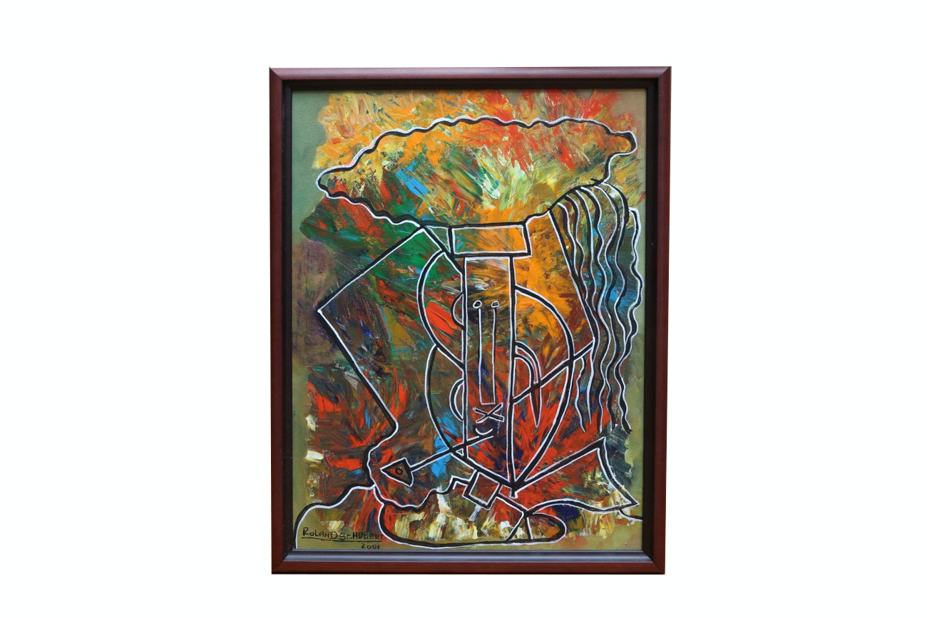 Roland St. Hubert Abstract Expressionist Style Oil Painting On Canvas