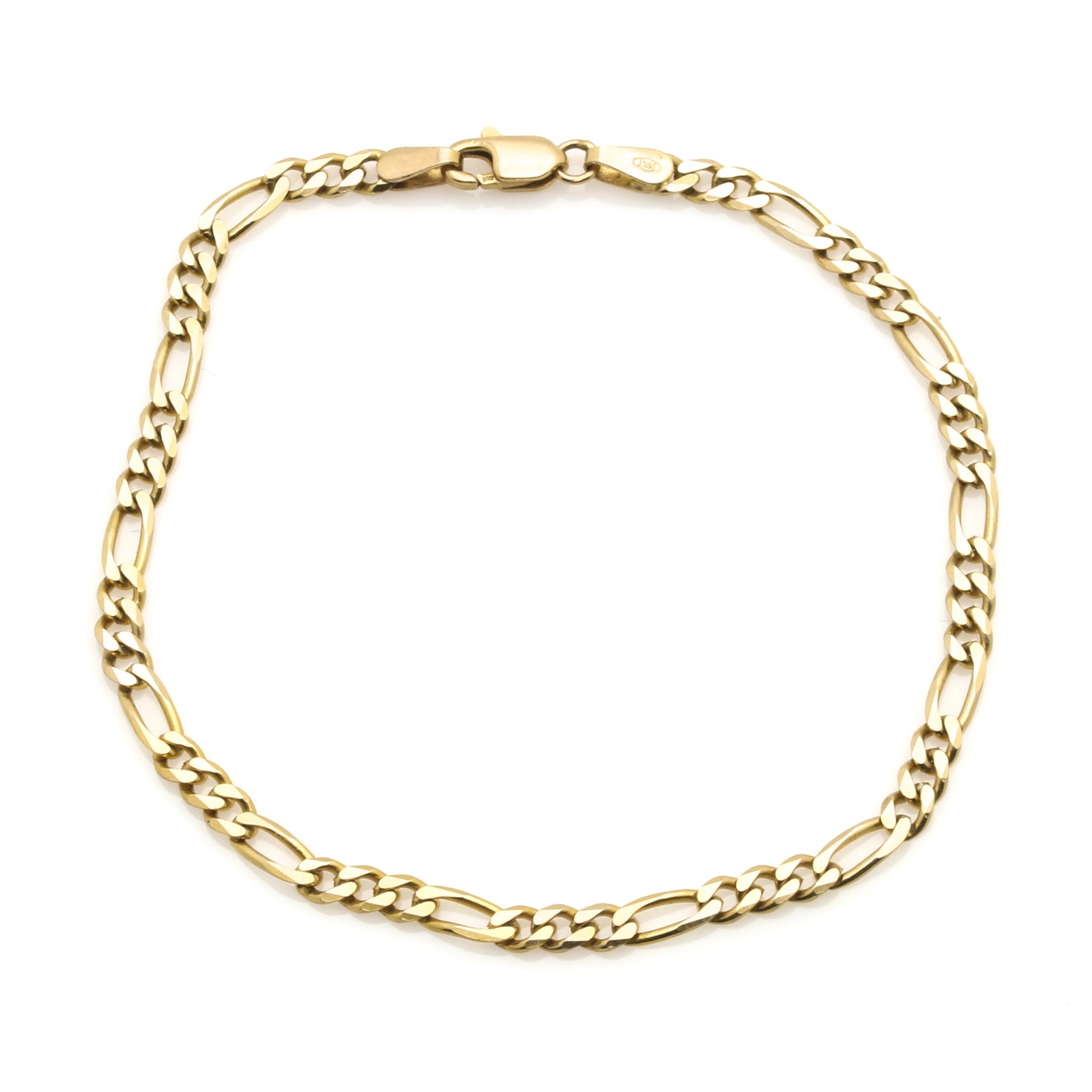 14K Yellow Gold Figaro Chain Bracelet