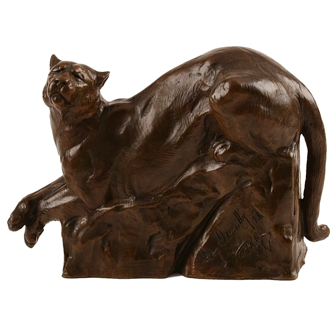 "Dan Ostermiller Bronze ""Mountain Lion"", Dated 1993"