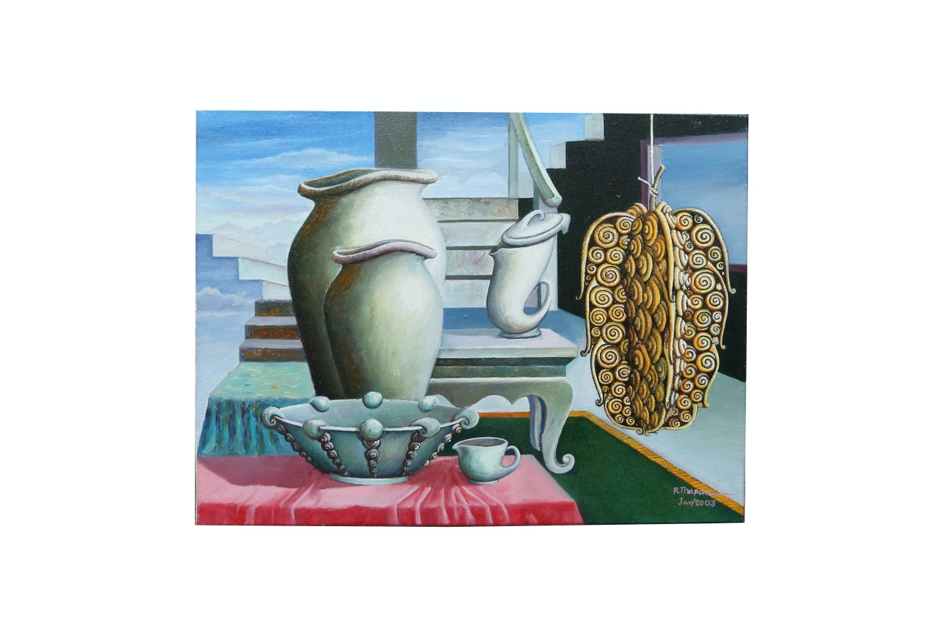 P. Thapan Still Life Oil Painting On Canvas