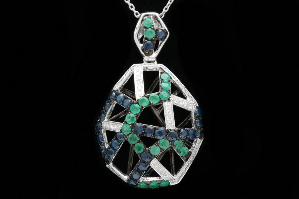 14K White Gold, 1.33 Blue Sapphire, Emerald and Diamond Pendant with Chain