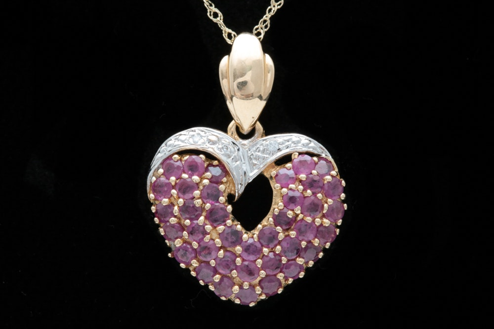 14K Two-Tone Gold, 1.87 CTW Ruby and Diamond Heart Pendant with Chain