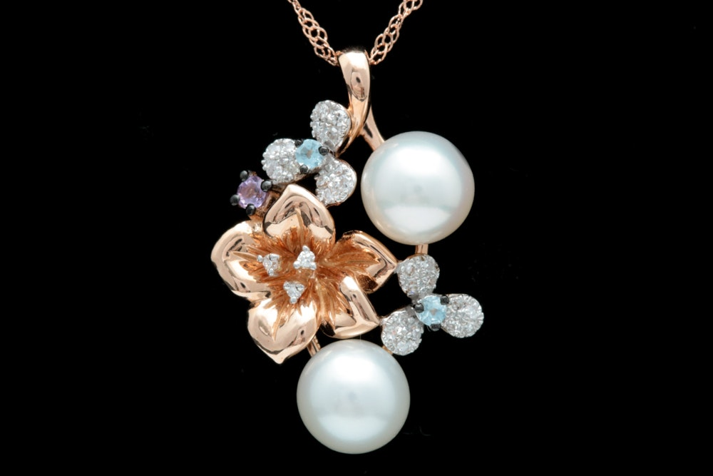 14K Rose Gold, Pearl, Amethyst, Blue Topaz and Diamond Pendant with Chain