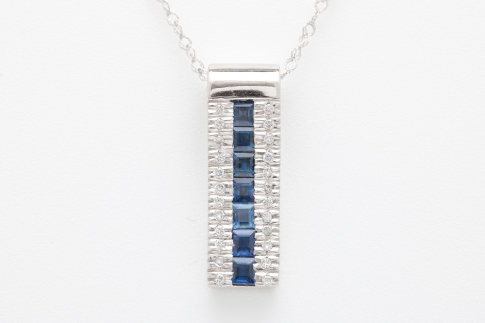 14K White Gold, Blue Sapphire and Diamond Pendant with Chain
