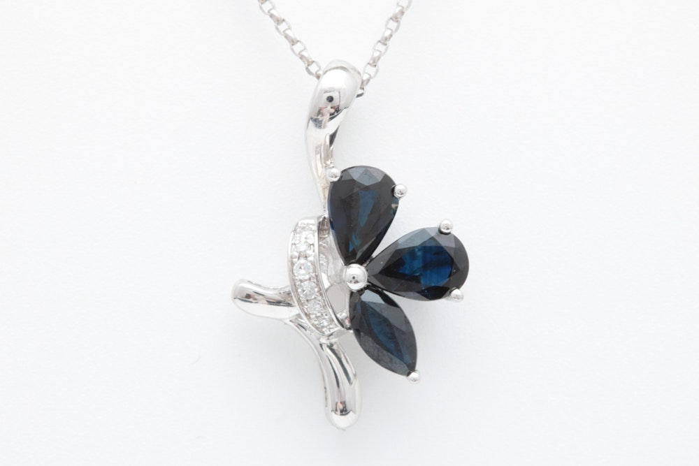 14K White Gold, 1.33 CTW Blue Sapphire and Diamond Butterfly Pendant with Chain