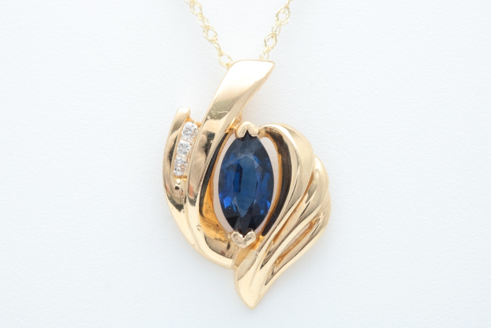 14K Gold, Blue Sapphire and Diamond Pendant with Chain