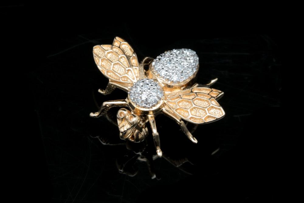 14K Yellow Gold and Diamond Wasp Pin