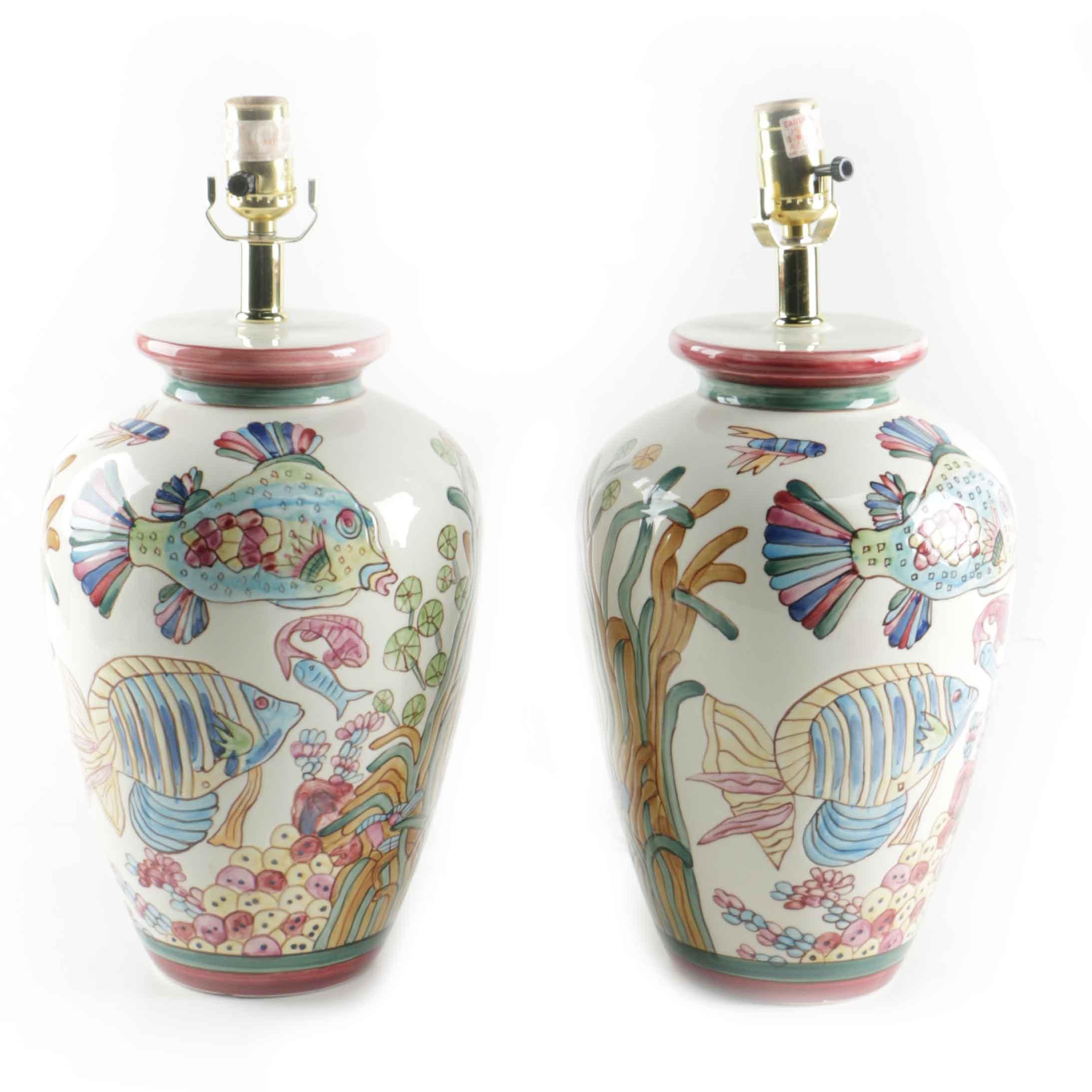 ceramic fishthemed ginger jar lamps - Ginger Jar Lamps