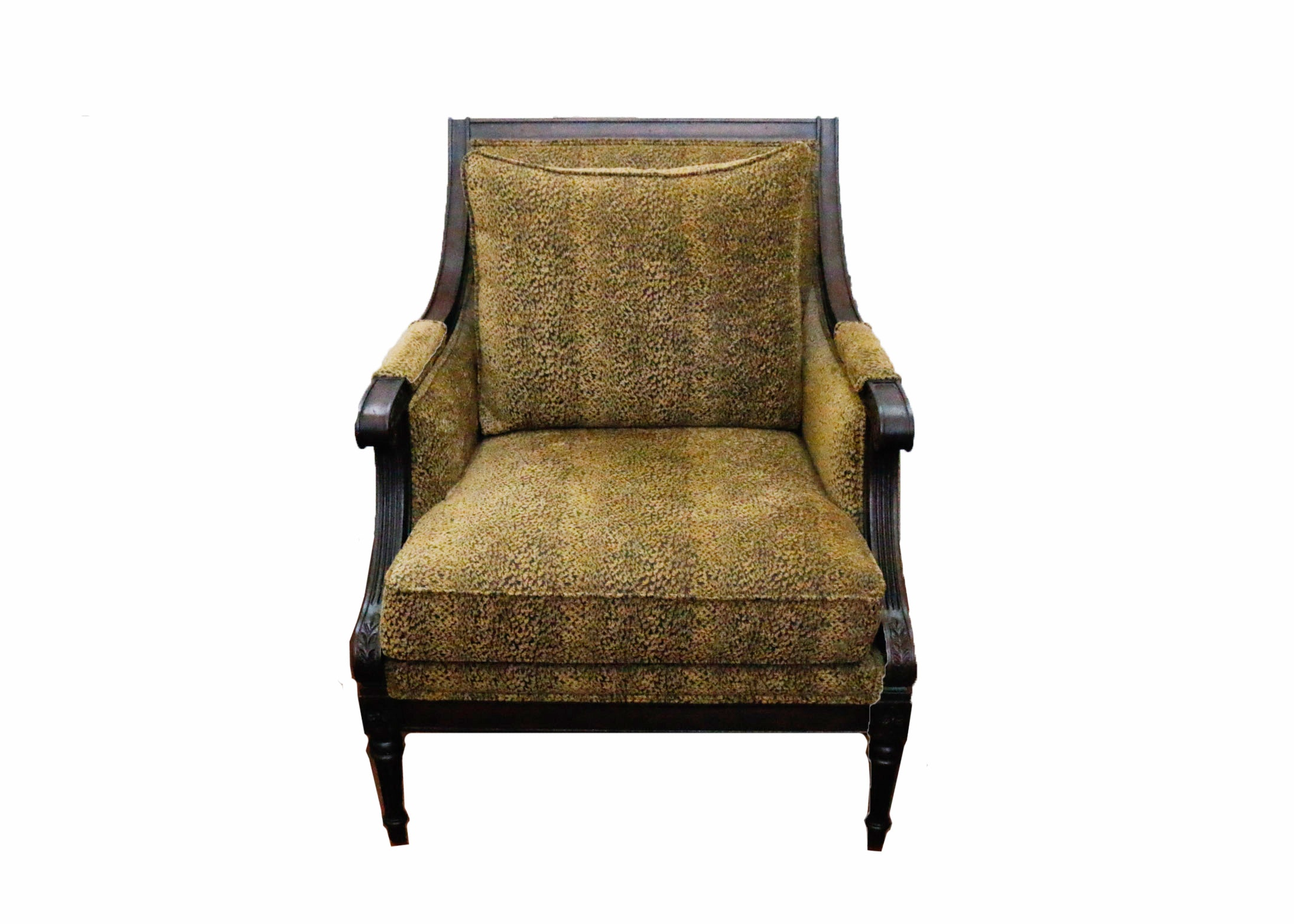 Wooden And Upholstered Arm Chair