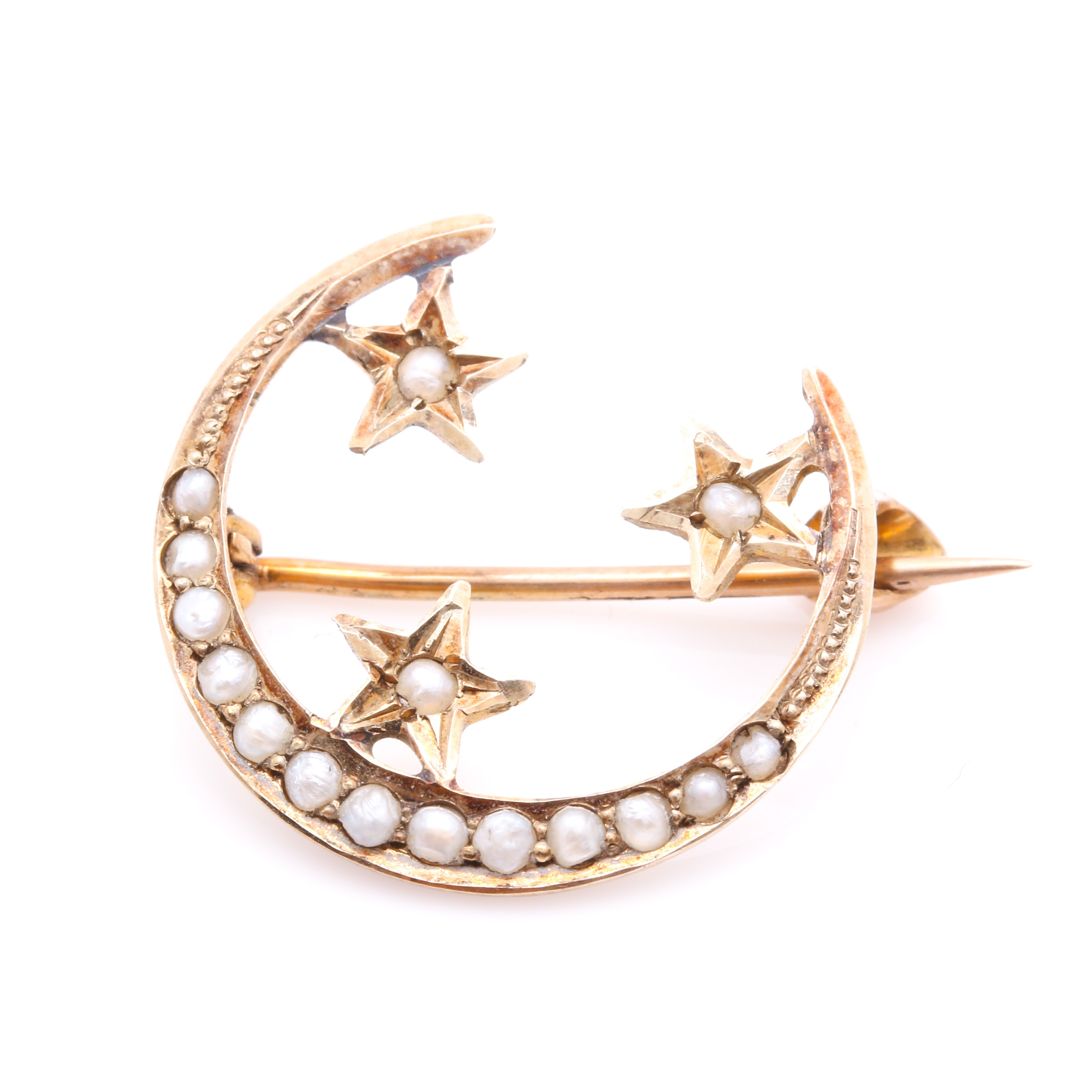 10K Yellow Gold Seed Pearl Crescent Moon Brooch