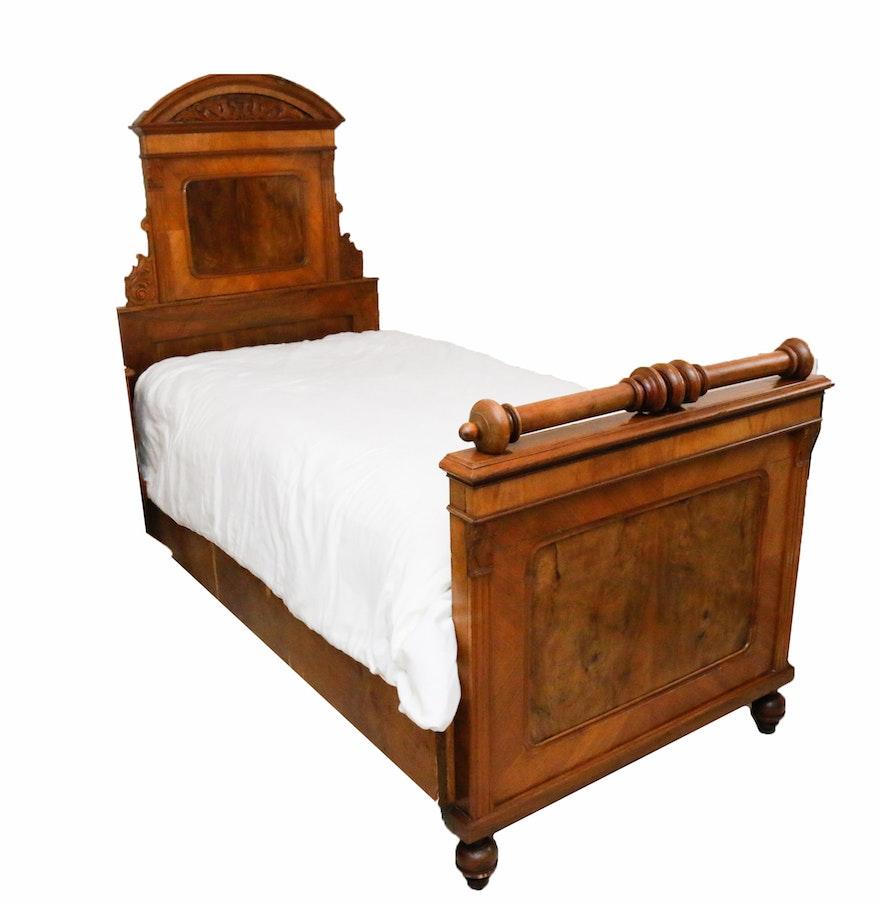 Austrian carved walnut bed frame ebth