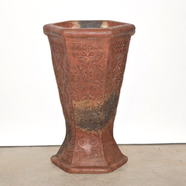 Rust and Black Tone Hexagonal Terracotta Planter