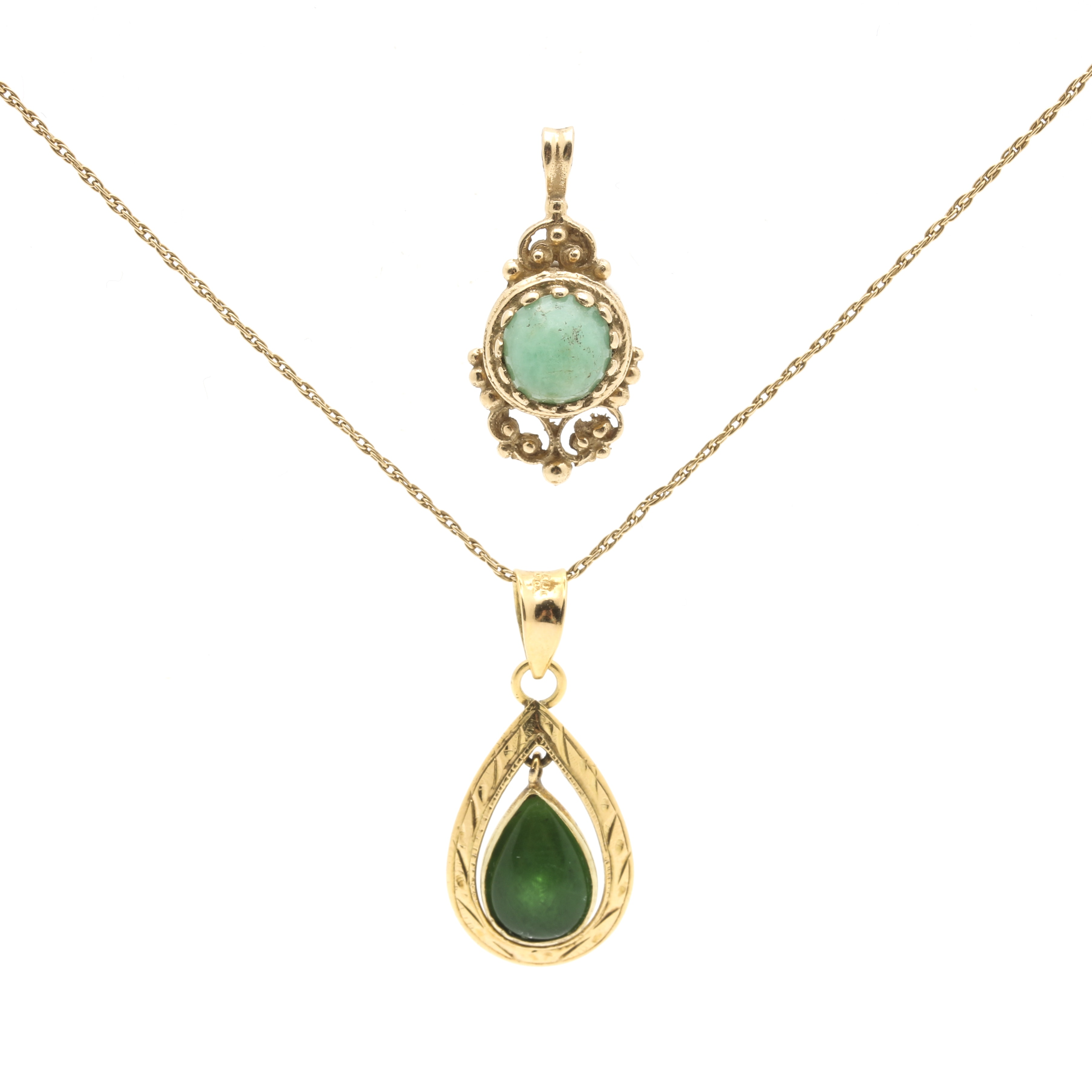 14K Yellow Gold Necklace and Stone Pendants