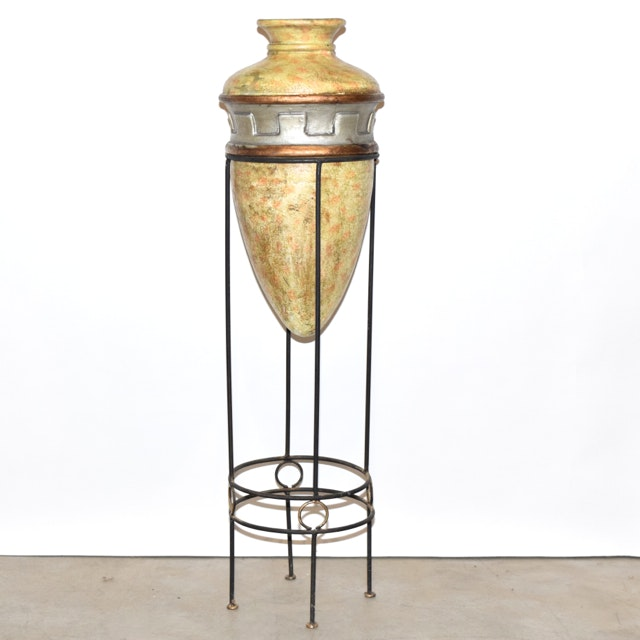 Neoclassical Style Terracotta Bullet Vase in Metal Stand