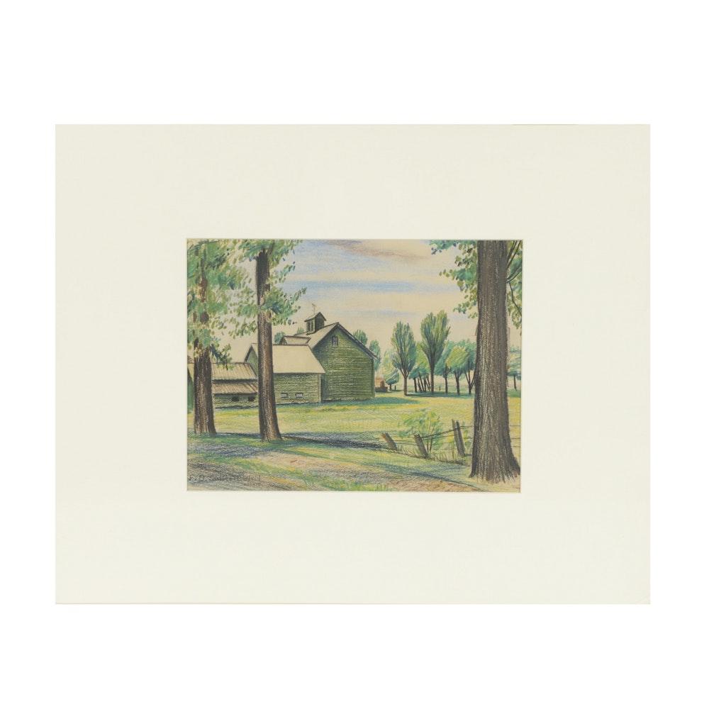 Original Florence Bartley Smithburn Pastel Drawing