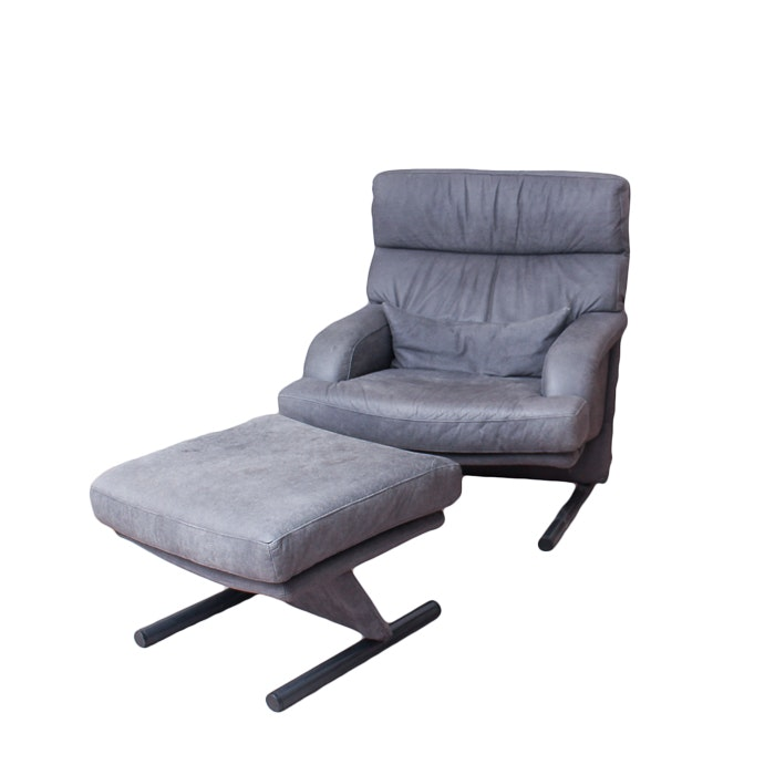 Modernist Gray Leather Armchair with Ottoman