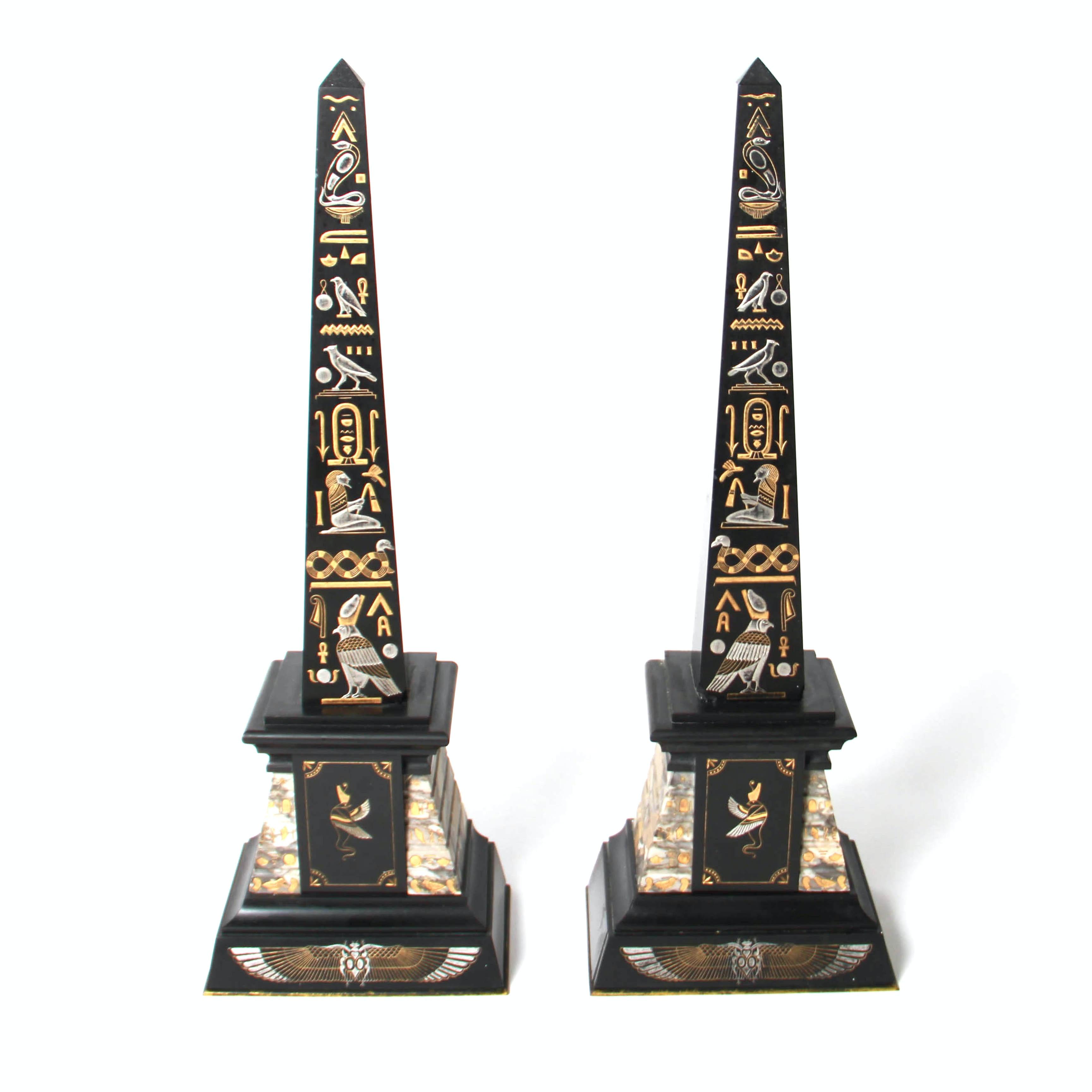 Egyptian Carved Marble Obelisk Bookends