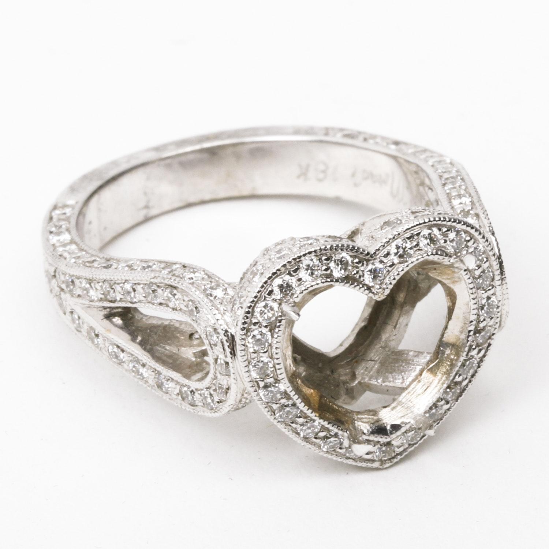 H. Moradi 18K White Gold and 1.24 CTW Diamond Milgrain Engagement Ring Semi Mount
