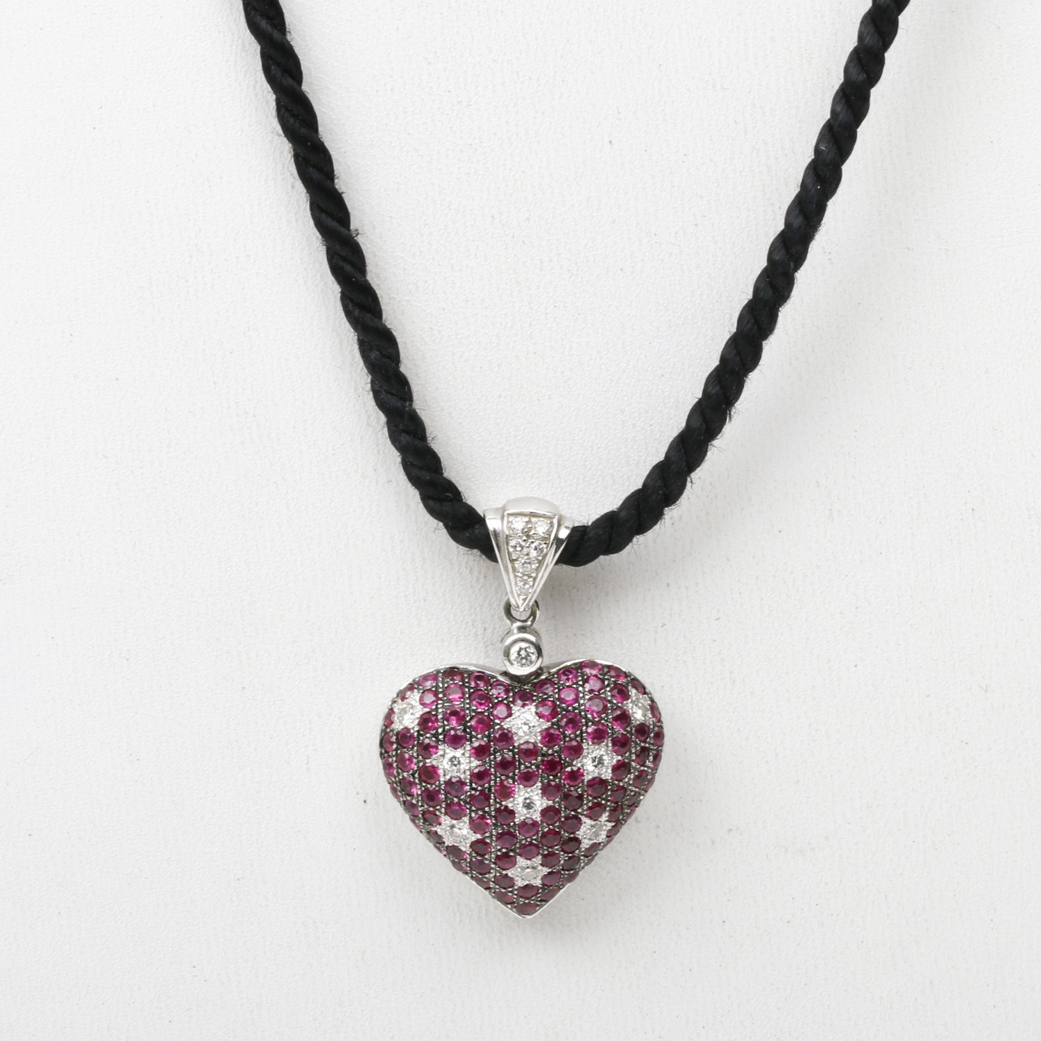 Le Vian 14K White Gold, Ruby, and Diamond Heart Pendant Necklace