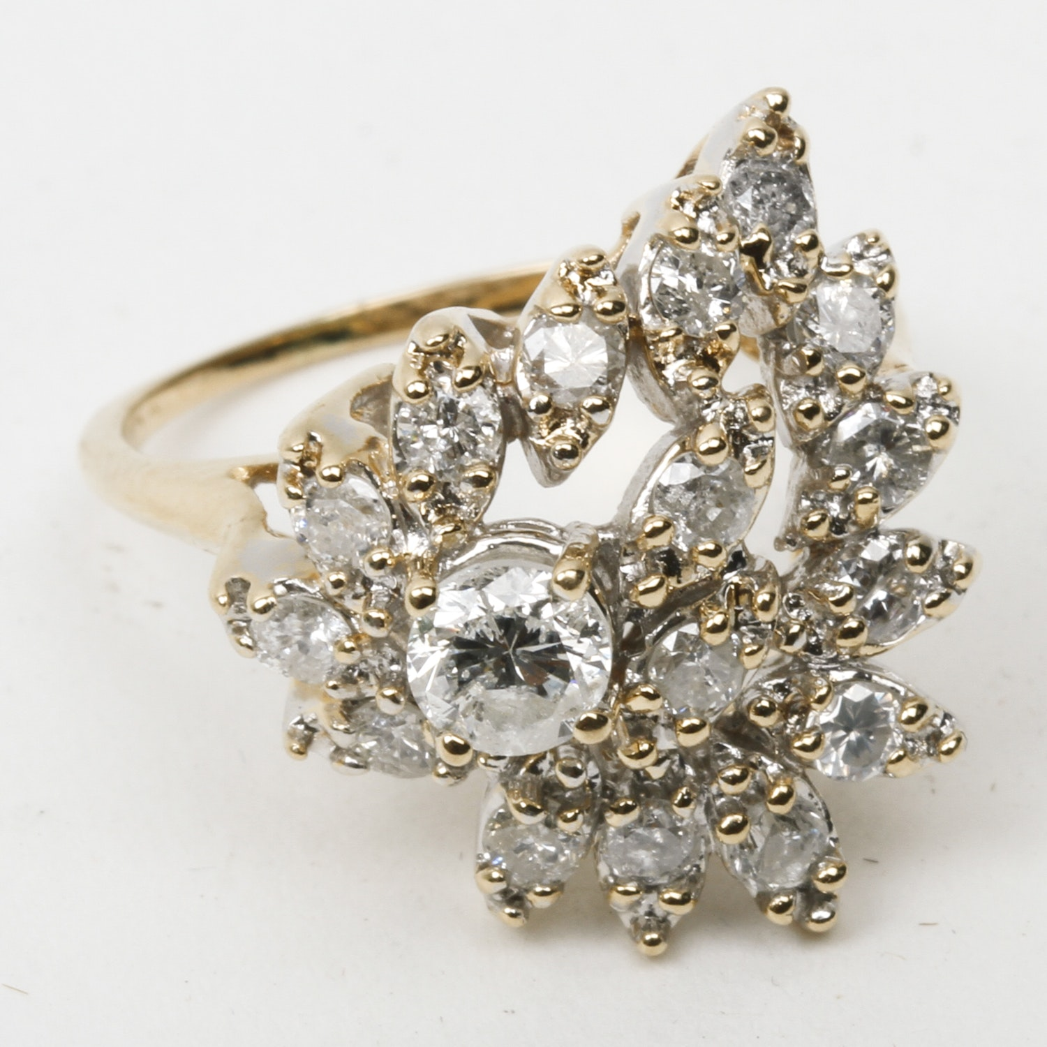 14K Yellow Gold and Diamond Foliate Cluster Ring