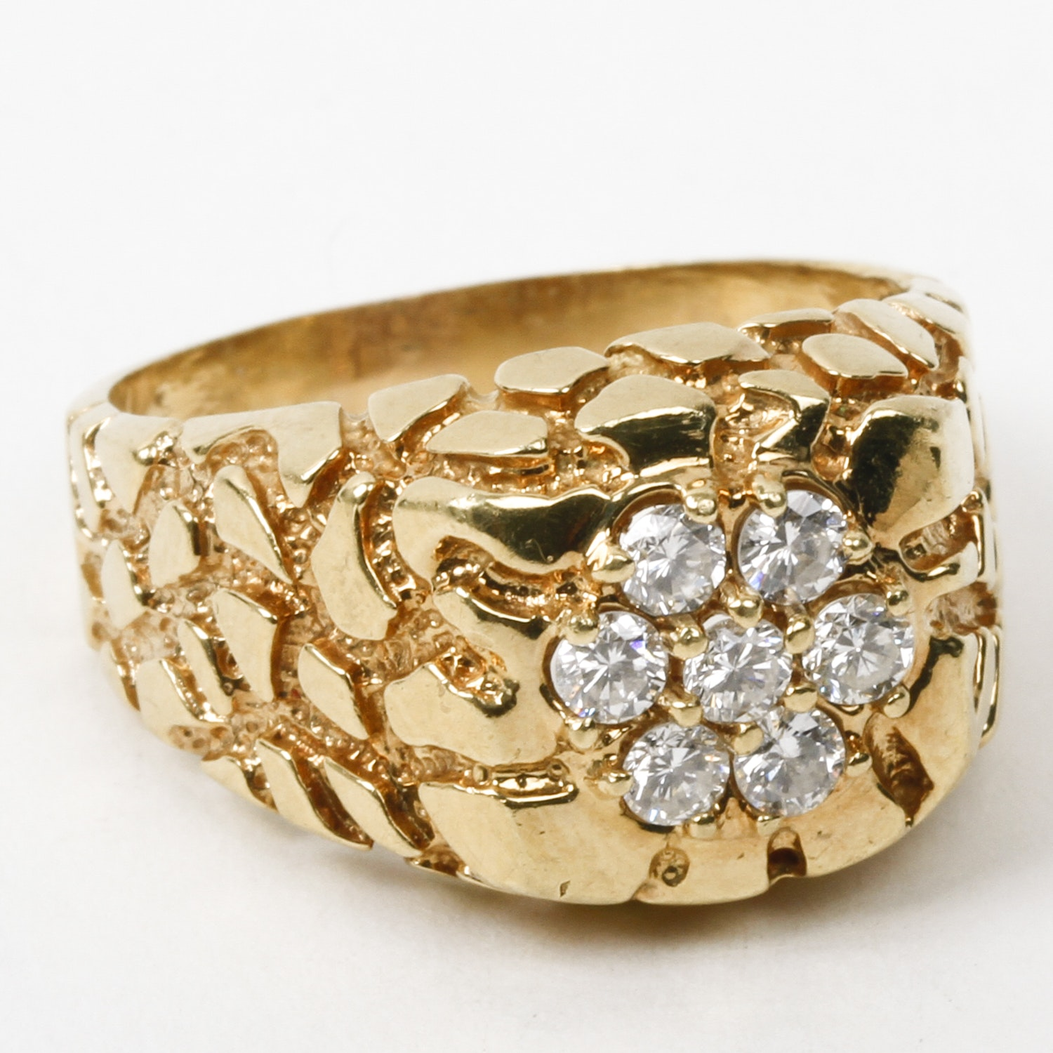 Men's 14K Yellow Gold and Diamond Cluster Ring